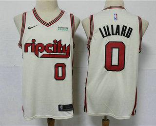 Men's Portland Trail Blazers #0 Damian Lillard Cream 2020 City Edition NBA Swingman Jersey With The Sponsor Logo