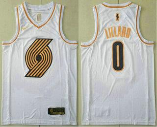 Men's Portland Trail Blazers #0 Damian Lillard White Golden Nike Swingman Stitched NBA Jersey
