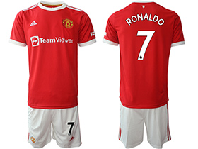 2021-22 Manchester United F.C. #7 Ronaldo Home Red Soccer Jersey Kit