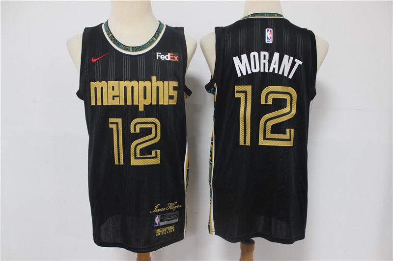 Men's Memphis Grizzlies #12 Ja Morant Black Nike 2021 NEW Swingman City Edition Jersey With The Sponsor Logo