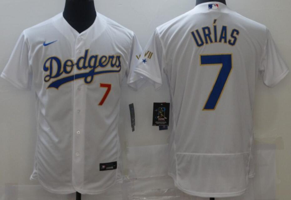 Men's Los Angeles Dodgers #7 Julio Urias White with Gold 2021 Gold Program Nike Flex Base Stitched Baseball Jerseys