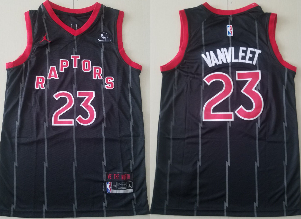 Men's Toronto Raptors #23 Fred Vanvleet Black 2021 Brand Jordan City Edition Swingman Jersey With The Sponsor Logo