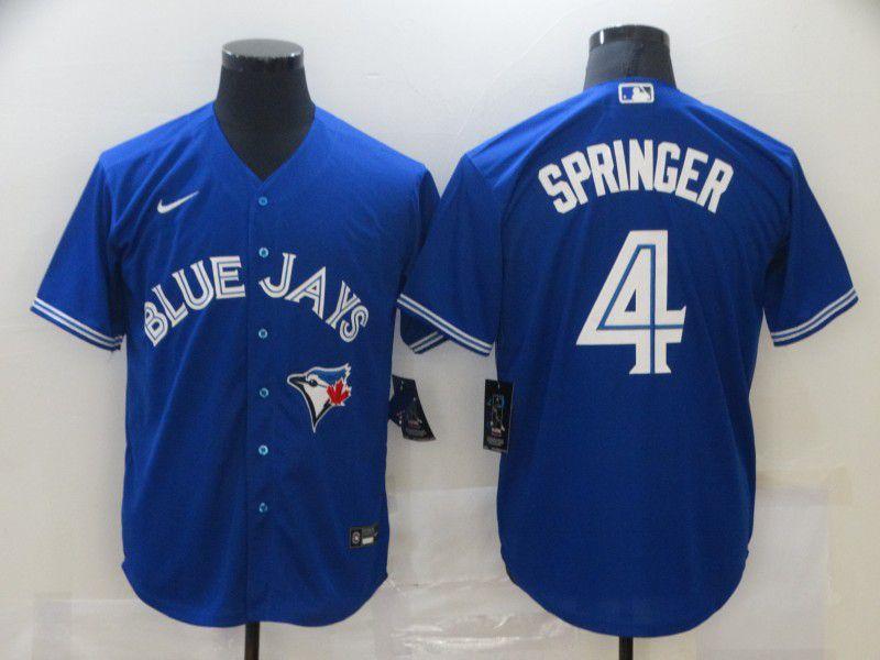 Men's Toronto Blue Jays #4 George Springer Blue Stitched MLB Cool Base Nike Jersey