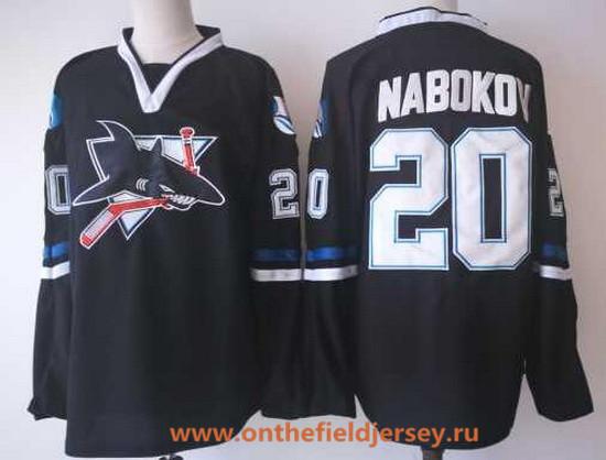 Men's San Jose Sharks #20 Evgeni Nabokov Black CCM Vintage Stitched NHL Hockey Throwback Jersey