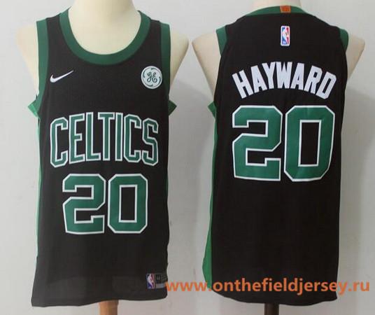 Men's Boston Celtics #20 Gordon Hayward Black 2017-2018 Nike Swingman General Electric Stitched NBA Jersey