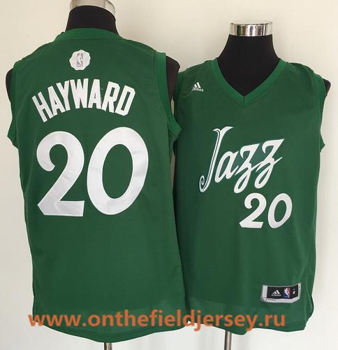 Men's Utah Jazz #20 Gordon Hayward adidas Green 2016 Christmas Day Stitched NBA Swingman Jersey