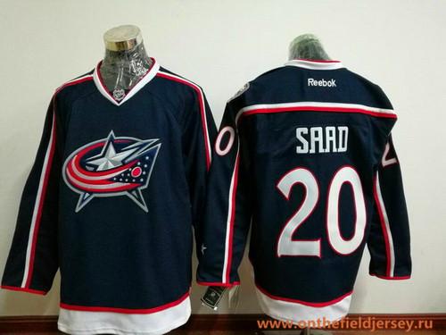 Men's Columbus Blue Jackets #20 Brandon Saad Navy Blue Home Stitched NHL Reebok Hockey Jersey