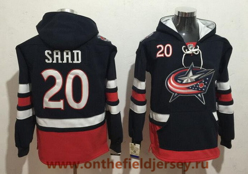 Men's Columbus Blue Jackets #20 Brandon Saad NEW Navy Blue Pocket Stitched NHL Old Tim Hockey Hoodie