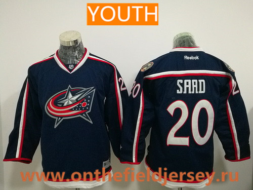 Youth Columbus Blue Jackets #20 Brandon Saad Navy Blue Home Stitched NHL Reebok Hockey Jersey