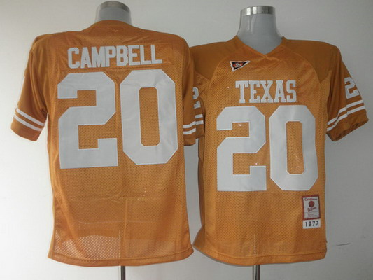 Men's Texas Longhorns #20 Earl Campbell Burnt Orange 1977 Throwback NCAA Football Jersey