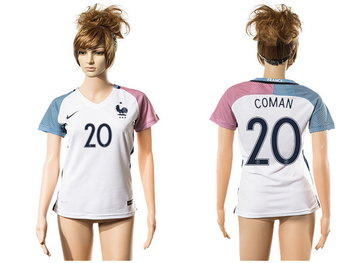 2016 European Cup France Away #20 Coman White Women's Soccer A+ Shirt