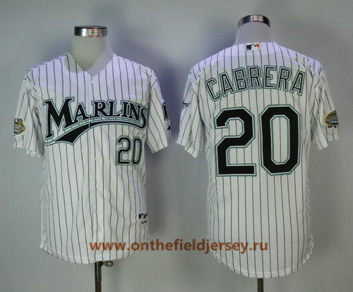 Men's Florida Marlins #20 Miguel Cabrera White Pinstripe Home Throwback 2003 World Series Patch Stitched MLB Mitchell & Ness Jersey