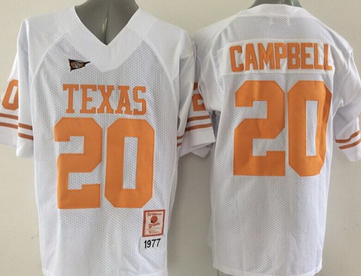 Men's Texas Longhorns #20 Earl Campbell White 1997 Throwback NCAA Football Jersey