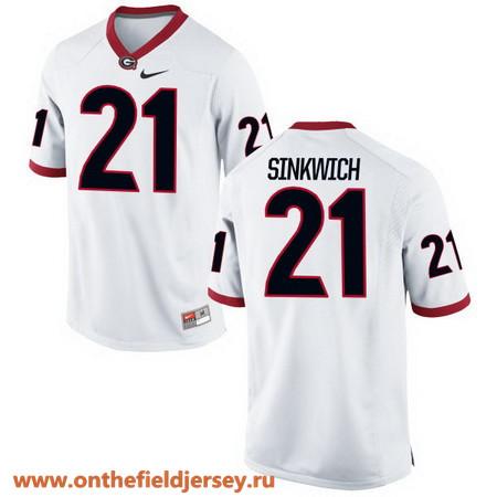 Men's Georgia Bulldogs #21 Frank Sinkwich White Stitched College Football 2016 Nike NCAA Jersey