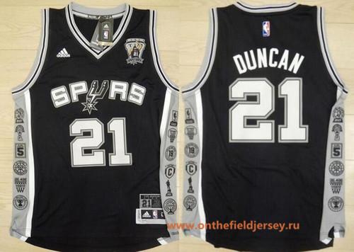 Men's San Antonio Spurs #21 Tim Duncan 2016 Black Retired Commemorative Stitched NBA adidas Basketball Jersey