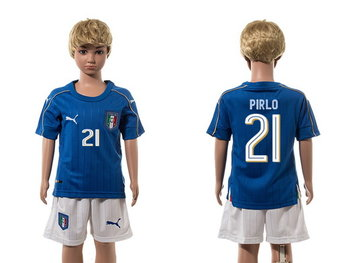 2016 European Cup Italy Home #21 Prilo Blue Youth Soccer Shirt Kit