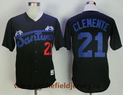Men's Puerto Rico Cangrejeros De Santurce #21 Roberto Clemente Black Collection Stitched Baseball Jersey