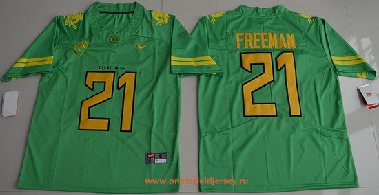 Men's Oregon Ducks #21 Royce Freeman Apple Green Limited Stitched College Football 2016 Nike NCAA Jersey