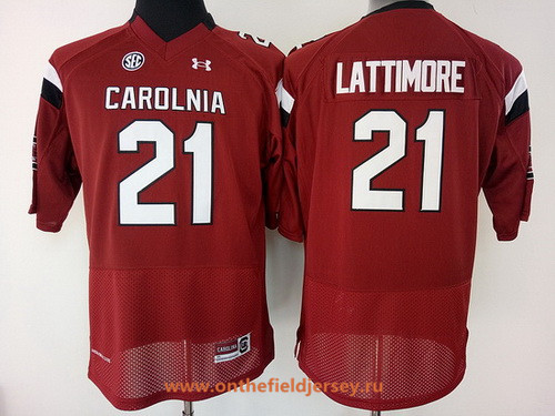 Women's South Carolina Gamecocks #21 Marcus Lattimore Red Stitched College Football Under Armour NCAA Jersey