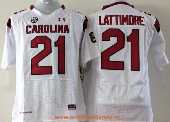 Men's South Carolina Gamecocks #21 Marcus Lattimore White Stitched College Football Under Armour NCAA Jersey