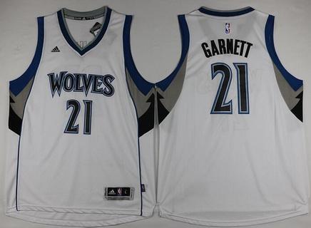 Men's Minnesota Timberwolves #21 Kevin Garnett Revolution 30 Swingman New White Jersey
