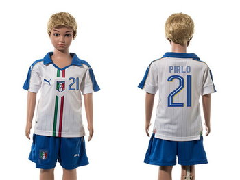 2016 European Cup Italy Away #21 Prilo White Youth Soccer Shirt Kit