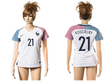 2016 European Cup France Away #21 Koscielny White Women's Soccer A+ Shirt