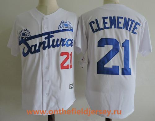 Men's Puerto Rico Cangrejeros De Santurce #21 Roberto Clemente White Collection Stitched Baseball Jersey