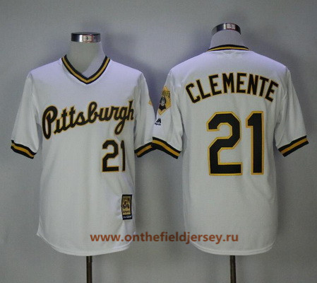 Men's Pittsburgh Pirates #21 Roberto Clemente White Pullover 1986 Throwback Stitched MLB Mitchell & Ness Jersey