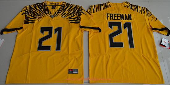 Men's Oregon Ducks #21 Royce Freeman Yellow Electric Lightning Stitched College Football 2016 Nike NCAA Jersey