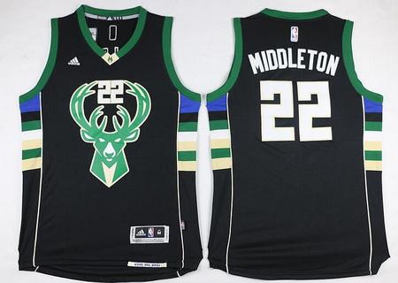Men's Milwaukee Bucks #22 Khris Middleton Revolution 30 Swingman 2015-16 Black Jersey