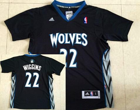 Minnesota Timberwolves #22 Andrew Wiggins Revolution 30 Swingman 2014 New Black Short-Sleeved Jersey