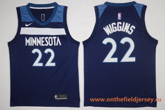 Men's Minnesota Timberwolves #22 Andrew Wiggins Navy Blue 2017-2018 Nike Swingman Stitched NBA Jersey