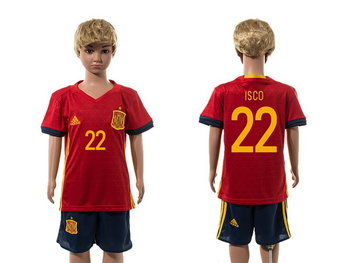 2016 European Cup Spain Home #22 Isco Red Youth Soccer Shirt Kit