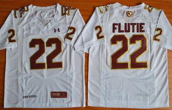 Men's Boston College Eagles #22 Doug Flutie White Fenway Event College Football Under Armour Jersey