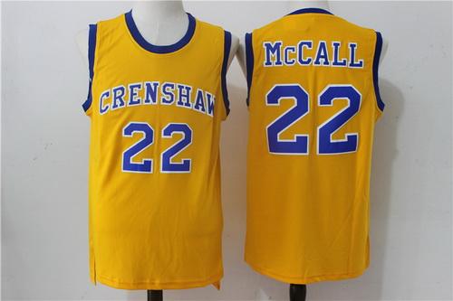 Men's The Movie Love & Basketball #22 Quincy McCall Yellow Soul Swingman Basketball Jersey