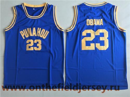 Men's Punahou School #23 Barack Obama Royal Blue Commemorative Edition Swingman Basketball Jersey