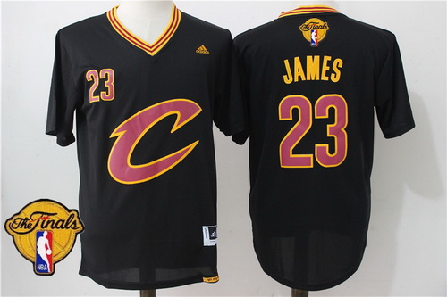 Men's Cleveland Cavaliers LeBron James #23 2017 The NBA Finals Patch New Black Short-Sleeved Jersey