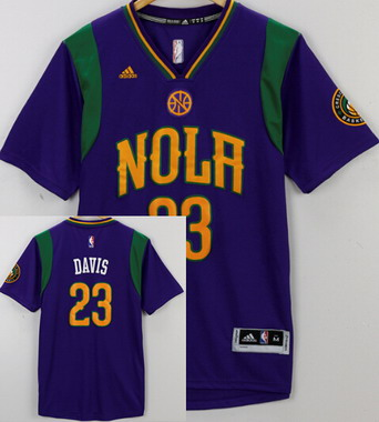 Men's New Orleans Pelicans #23 Anthony Davis Purple Short-Sleeve Stitched NBA adidas Revolution 30 Swingman Jersey