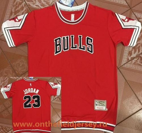 Men's Chicago Bulls #23 Michael Jordan Red Retro Short-Sleeves Legend Swingman Stitched NBA Basketball Jersey