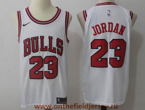 Men's Chicago Bulls #23 Michael Jordan White 2017-2018 Nike Swingman Stitched NBA Jersey