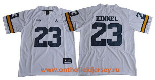 Men's Michigan Wolverines #23 Tyree Kinnel White 2017 College Football Stitched Brand Jordan NCAA Jersey
