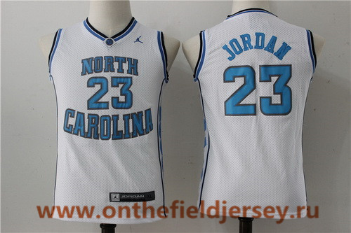 Youth North Carolina Tar Heels #23 Michael Jordan White College Basketball Brand Jordan Swingman Stitched NCAA Jersey