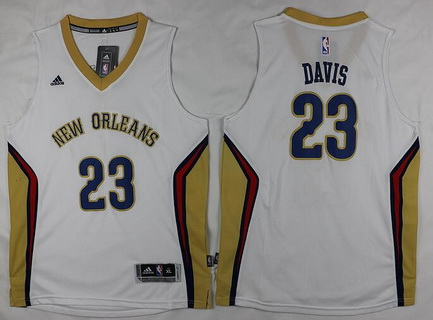 Youth New Orleans Pelicans #23 Anthony Davis White Stitched NBA Adidas Swingman Jersey