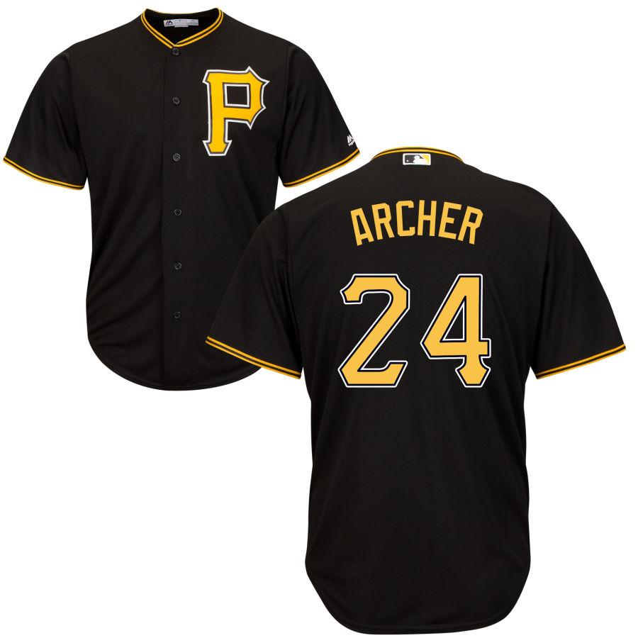 Men's Pittsburgh Pirates 24 Chris Archer Majestic Black Cool Base Jersey