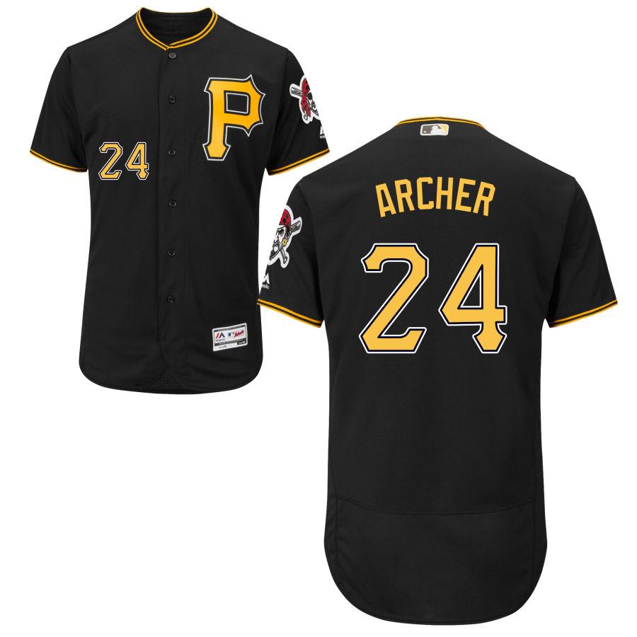 Men's Pittsburgh Pirates 24 Chris Archer Majestic Black Flex Base Jersey