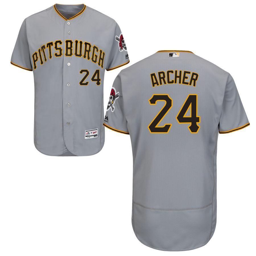 Men's Pittsburgh Pirates 24 Chris Archer Majestic Gray Flex Base Jersey