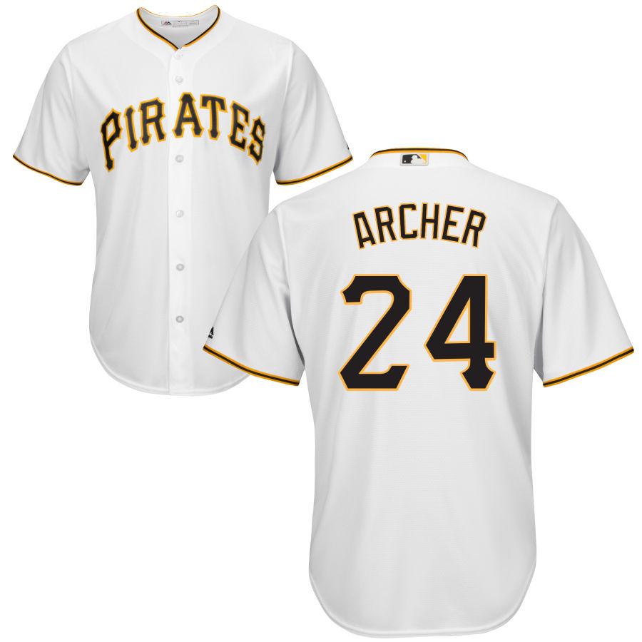 Men's Pittsburgh Pirates 24 Chris Archer Majestic White Cool Base Jersey