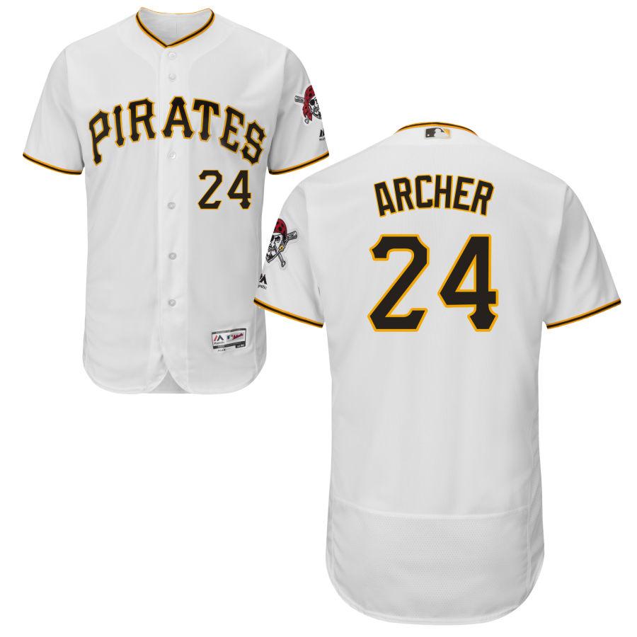 Men's Pittsburgh Pirates 24 Chris Archer Majestic White Flex Base Jersey