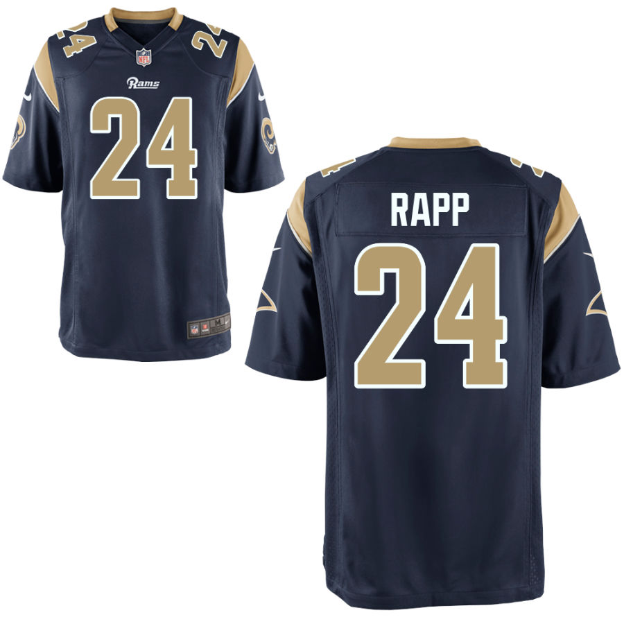 Men's Los Angeles Rams #24 Taylor Rapp Navy Blue Team Color Stitched NFL Nike Game Jersey